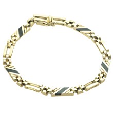 Black Onyx 14k Yellow Gold Link Unisex Bracelet