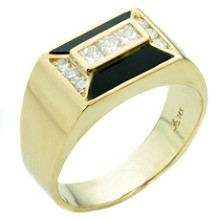 Diamond Black Onyx 14k Yellow Gold Geometric Ring