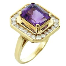 Diamond Purple Amethyst 14k Yellow Gold Ring