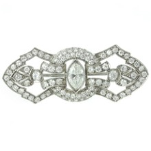 Art-Deco Platinum Diamond Filigree Brooch