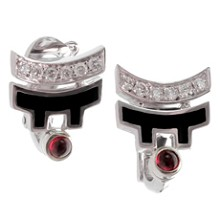 CARTIER Le Baiser Du Dragon Diamond Ruby 18k White Gold Lacquer Earrings