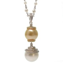 Custom-Made Diamond Pearl 18k Gold White & Yellow Pendant Necklace New