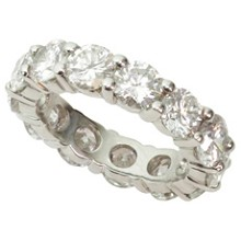 Diamond Platinum Shared-Setting Eternity Wedding Band Ring