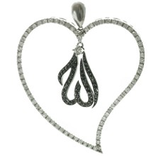Golden Desert 18k Gold Black & White CZ Stones Heart Pendant