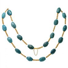 18k Yellow Gold Pressed Turqouise Long Necklace