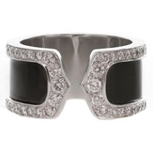 CARTIER Double C Decor 18k Diamond Black Lacquer Large 50 Ring
