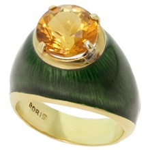 BORIS LE BEAU 18k Yellow Gold Citrine Green Enamel Cocktail Ring