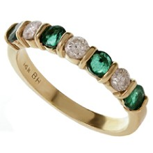 Diamond Emerald 14k Yellow Gold Ring