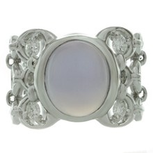 CHRISTIAN DIOR Diamond Chalcedony 18k White Gold Ring