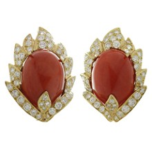 VOURAKIS Diamond Natural Oxblood Coral 18k Yellow Gold Clip-on Earrings