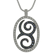 Blue Sapphire Diamond 18k White Gold Pendant Necklace