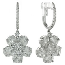 Diamond 18k White Gold Flower Drop Earrings