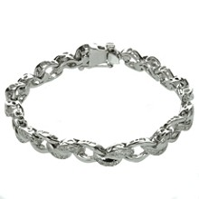 Diamond 14k White Gold Link Bracelet