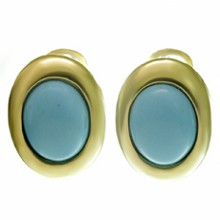 Turquoise 18k Yellow Gold Oval Lever-Back Earrings
