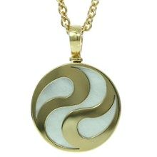 BVLGARI Spinning Ying Yang Mother of Pearl 18k Yellow Gold Pendant Necklace