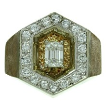 Diamond 14 Textured Yellow Gold Mens Ring
