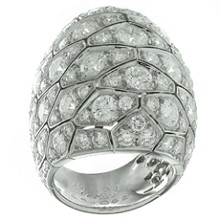 CARTIER Serpentine Diamond 18k White Gold Large Dome Ring