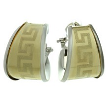 14k Two-Tone Gold Geometric Pattern Wrap Earrings
