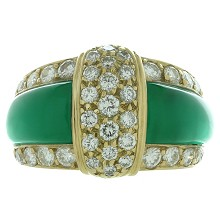 VAN CLEEF & ARPELS Diamond Green Chrysopraise 18k Yellow Gold Ring