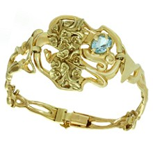 Blue Topaz 14k Yellow Gold Floral Bracelet