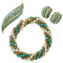 VAN CLEEF & ARPELS Twist Turquoise Pearl 18k Yellow Gold Bracelet, Earrings & Brooch Set