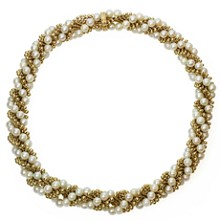 VAN CLEEF & ARPELS Twist Cultured Pearl 18k Yellow Gold Necklace