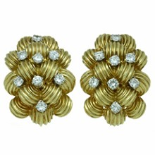VAN CLEEF & ARPELS Diamond 18k Yellow Gold Clip-on Earrings