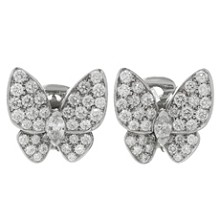 VAN CLEEF & ARPELS Butterfly Diamond White Gold Earrings