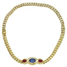 BULGARI Classic Sapphire Ruby 18k Yellow Gold Link Interchangeable Bracelet Necklace