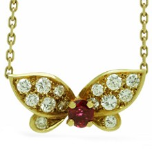 VAN CLEEF & ARPELS Diamond Ruby 18k Yellow Gold Butterfly Necklace