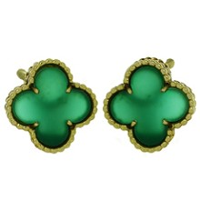 VAN CLEEF & ARPELS Alhambra Green Chalcedony 18k Yellow Gold Earrings