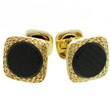 VAN CLEEF & ARPELS Black Onyx 18k Yellow Gold Cufflinks