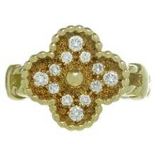 VAN CLEEF & ARPELS Vintage Alhambra Diamond 18k Yellow Gold Ring