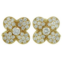 VAN CLEEF & ARPELS Trefle Diamond 18k Yellow Gold Earrings