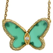 VAN CLEEF & ARPELS Vintage Diamond Chalcedony 18k Butterfly Necklace