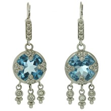 Blue Quartz 14k White Gold Drop Earrings