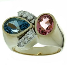 Diamond Pink Tourmaline London Blue Topaz 14k Gold Ring