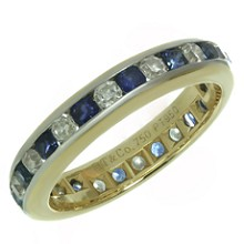 TIFFANY & CO. Lucida Diamond Sapphire Platinum Yellow Gold Ring