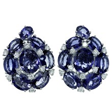 Diamond Purple Iolite 18k White Gold Earrings