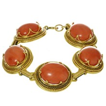 Victorian Natural Red Coral Yellow Gold Filligree Link Bracelet
