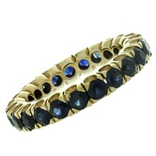Genuine Blue Sapphire 14k Yellow Gold Band Ring