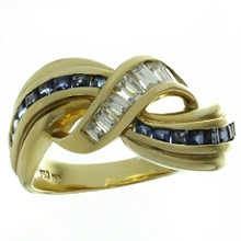 Diamond Blue Sapphire 18k Yellow Gold Ring