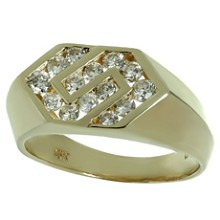 Diamond 14k Yellow Gold Geometric Mens Ring