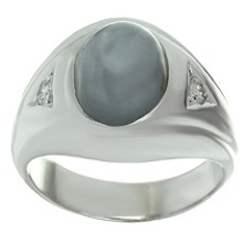 Diamond Star Sapphire 14k White Gold Ring
