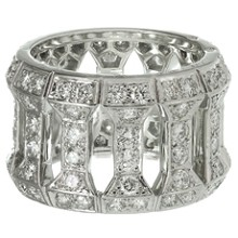 CARTIER Diamond 18k White Gold Wide Band Ring