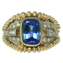 Royal Blue Tanzanite Diamond 14k Yellow White Gold Ring