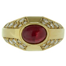BVLGARI Diamond Ruby 18k Yellow Gold Ring