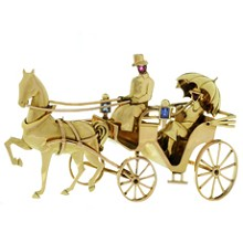 MAUBOUSSIN Paris Sapphire Ruby 18k Gold Horse Carriage Couple Brooch