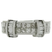 Princess-Cut Diamond 18k White Gold Band Ring