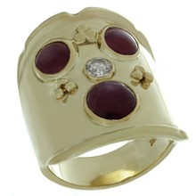 Star Ruby Diamond Yellow Gold Ring